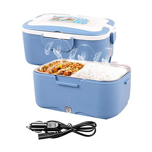 Coche uso calefacción eléctrica caja de almuerzo calentador de alimentos fiambrera, Bandeja Extraíble de Acero Inoxidable Portátil, 24V para camión (Azul)