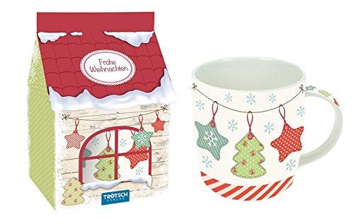 Geschenk-Tasse aus Porzellan Vintage-Weihnachten in hochwertiger Geschenkverpackung: Kaffeetasse / Teetasse / Nikolausgeschenk