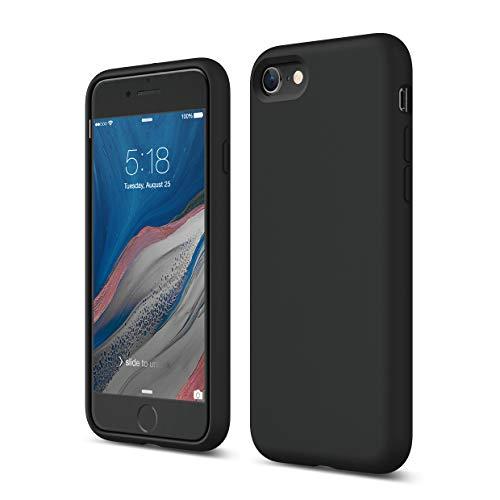 elago Coque Silicone Liquide Compatible avec Apple iPhone SE 2020, Compatible avec iPhone 8, Compatible avec iPhone 7, Silicone Premium, Étui Anti-Choc, Protection Complète du Corps (Noir)