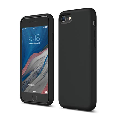 elago Liquid Silikon iPhone SE 2020 Hülle Silikon Case Kompatibel mit Apple iPhone SE2 Handyhülle, iPhone 8, iPhone 7 - Voller Schutz [3-Layer Struktur], Stoßfest, Hochwertiges Silikon (Schwarz)