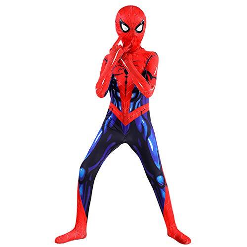 FSMJY Muskel Spiderman Kostüm 7-8 Jahre Jungen Halloween Karneval Cosplay 3D-Druck Kostüm Anzug Jumpsuit Bodysuit Für Party Film Kostüm Requisiten,Spiderman-90~100cm