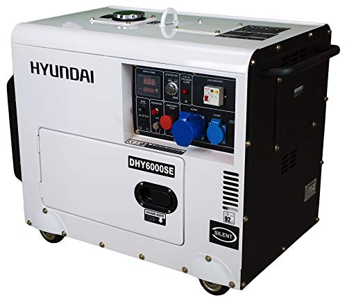 HYUNDAI Silent Diesel Generator DHY6000SE D, Stromerzeuger mit 5.3 kW (230 V) Leistung, Notstromaggregat für Baustellen, Stromgenerator für Notstromversorgung, Stromaggregat.