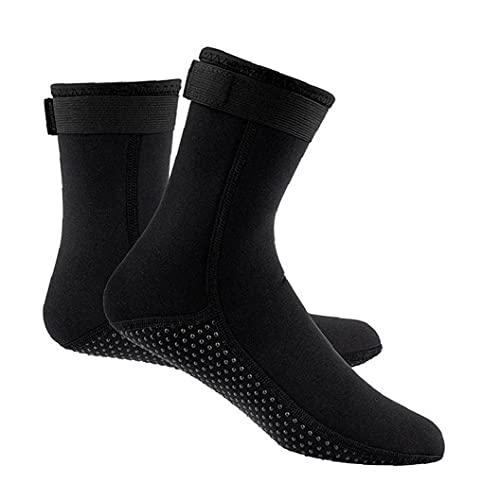 Buceo calcetines antideslizante térmica Traje de Natación Calcetines Calcetines 3MM para deportes acuáticos Aletas Calcetines Negro (M)