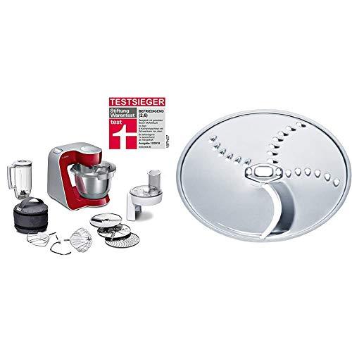 Bosch MUM5 CreationLine Küchenmaschine MUM58720, vielseitig einsetzbar, große Edelstahl-Schüsssel (3,9l), Durchlaufschnitzler, 3 Scheiben, Mixer, 1000 W, rot/silber & MUZ45KP1 Kartoffelpuffer-Scheibe