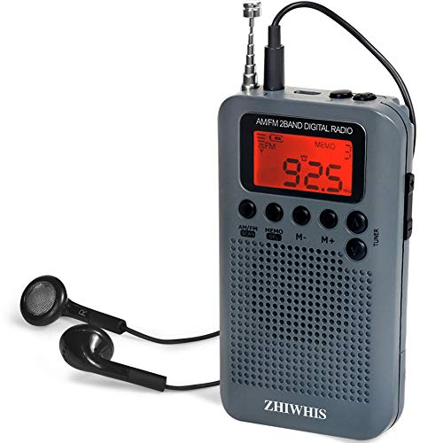 ZHIWHIS Mini LCD AM FM Battery Operated Portable Pocket Radio with Built-in Speaker and 3.5mm Headphone Jack, Powered by 2AAA Battery Digital Alarm for Walking,Travel