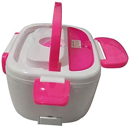Chauffage électrique Gamelle 12V voiture portable for les enfants Repas Préparation Bento Box chauffée des contenants Thermos Boîte à lunch for la nourriture, vert jszzz (Color : Pink)