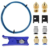 Creality Upgrade 3D Printer Kit with Capricorn Premium XS Bowden Tubing 1M, PTFE Teflon Tube Cutter, Pneumatic Fittings and MK8 Socks and Extra Nozzles for Ender 3/3 Pro/5 CR-10 Series/10S/20/20 Pro