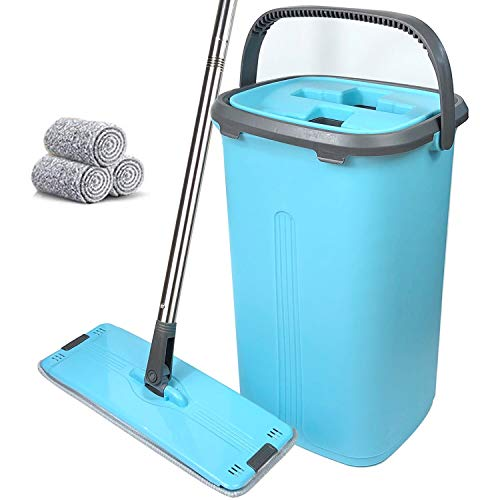 Flat Floor Mop and Bucket Set - Home Floor Cleaning System,Wet Dry Kitchen Cleaner Hand Free,3 Reusable Microfiber Pads for Hardwood, Laminate, Tiles, Vinyl
