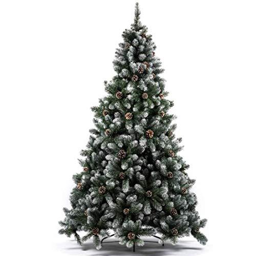 BAKAJI Albero di Natale MARILLEVA Verde 240 cm Ecologico PVC, Base a Croce in Ferro, 1388 Rami innesto ad uncino, Aghi Anti Caduta, Foltissimo Real Touch, Punte innevate