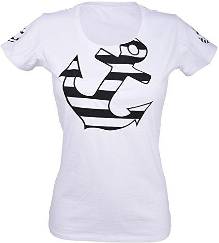Küstenluder Damen Oberteil Striped Anchor Sailor Anker Shirt Schwarz M