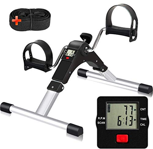 SIMPFIT Portable Stationary Pedal Exerciser for Senior - Folding Exercise Peddler Desk Bike with Electronic Screen for Arm and Leg Workout