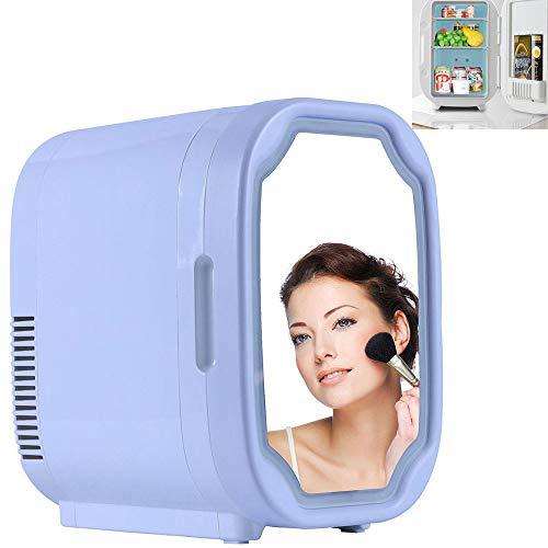 Maquillaje Nevera con Espejo LED, El Coche De Refrigerador, Mini Refrigerador del Refrigerador, Cosméticos para Maquillaje Y Cuidado La Piel