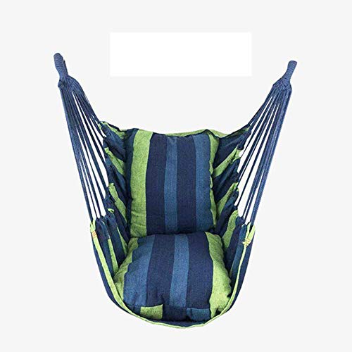 NOBRAND Portable Hammock Chair Hanging Rope Chair Swing Chair Seat With 2 Pillows For Garden Indoor Outdoor Fashionable Hammock Swings