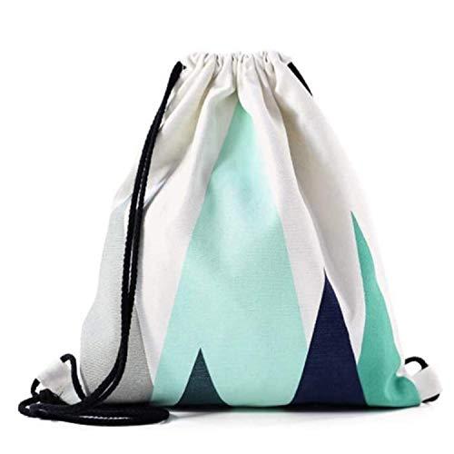 Nacnic Mochila de Asas con diseño (Ambos Lados). Hecha con Tejido Resistente de algodón. Bandolera con Cuerdas. Modelo geometrico Azul Turquesa para Gimnasio, Libros, guarderia, Viajes.