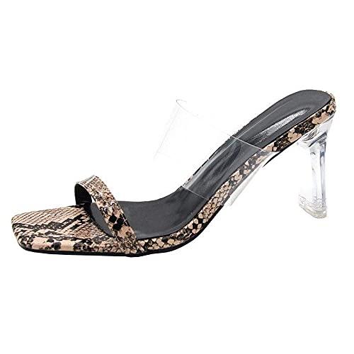 MISS KANG Zapatillas de verano suaves para mujer, con palabras de cristal, para mujer, color caqui, talla UK5.5