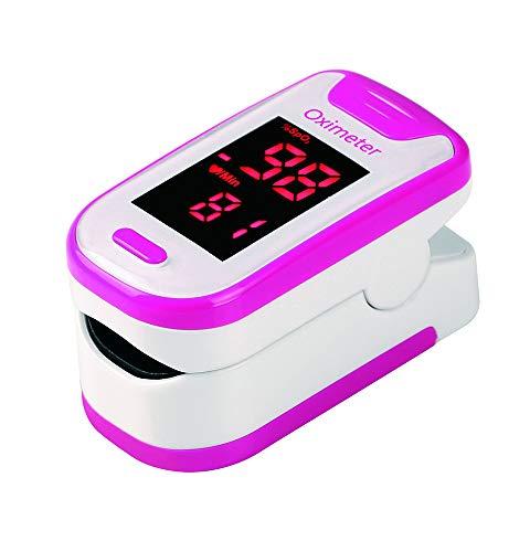 Smart Finger Pulsoximeter mit Box Lanyard Tragbares Haushaltsblut-Sauerstoff-Messgerät Herzfrequenzmesser SPO2 PR Oximeter CE,Rosa