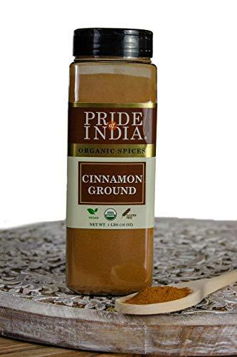 Pride Of India- Organic Cinnamon,Indian Ground -16 oz(453 gms) Especias indias naturales y recién molidas -Complemento instantáneo para café con leche, panes y cafés - La mejor relación calidad-precio