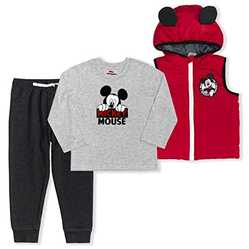 Disney Boy's 3-Piece Mickey Mouse Hooded Vest Set with Jogger Pants and Long Sleeve Shirt, Red/Black, Size 5T
