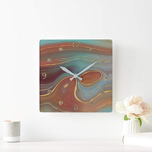 Square Wall Clock Earthy Fall Strata Burnt Orange Gold Teal Agate Wood Wall Clocks Battery Operated Non Sticking Wooden Clock Vintage Hanging Clock for Farmhouse Kitchen Living Room Bedroom 12 Inch