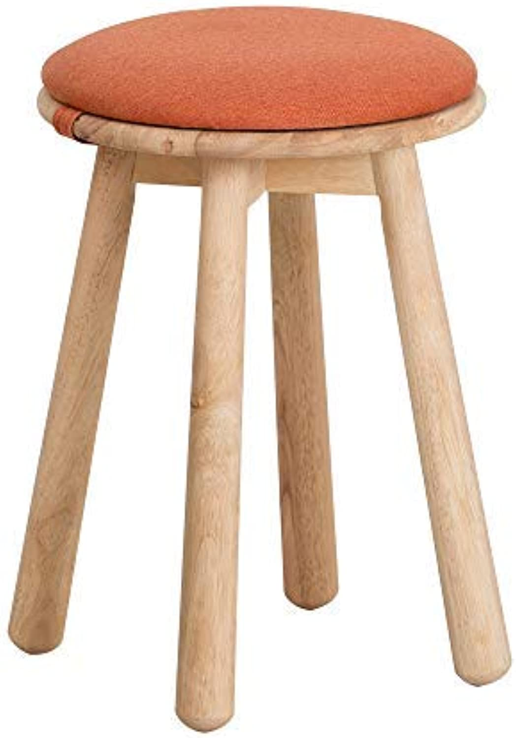 Heywood Linen Fabric Round Stool with Solid Wood Legs Padded Stool with Removable Design (orange)