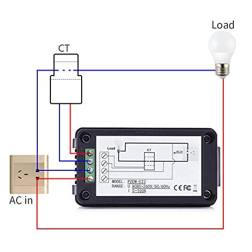 MICTUNING Pantalla LCD Multímetro Digital de CA Voltímetro del Amperímetro...