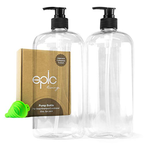 2 Pack Empty Pump Bottles  Plastic Pump Dispenser Bottle With Black Pump Gift Box And Collapsible Funnel For Hair Shampoo Conditioner Hand Soap Laundry Detergent And Hand Lotion