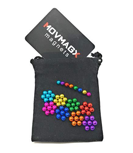 movmagx Magnetkugeln 5mm [ 64 Stück - 8 Farben ] NEU unser Mini-Probierset inkl. Samtbeutel & Trennkarte - Magnete für Pinnwand, Magnettafel, Whiteboard, Kühlschrank