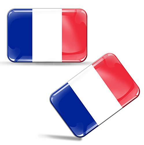Biomar Labs® 2 x Aufkleber 3D Gel Silikon Stickers Frankreich France Französische Flagge Fahne Flag Auto Motorrad Fahrrad Fenster Tür PC Handy Tablet Laptop F 33