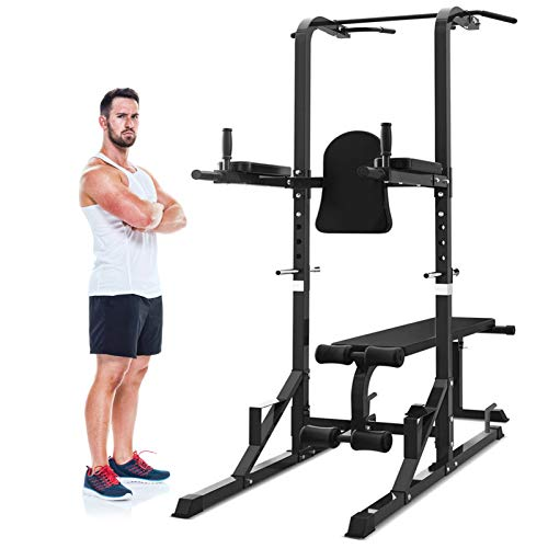 Mikolo Power Tower, 700 LBS Dip Station with Flat/Sit-Up Weight Bench, Pull Up Bar for Home Gym, Workout, Strength Training (2021 New)