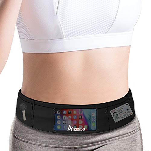 Slim Running Belt Fanny Pack Phone Holder,Fitness Workout Waist Pouch Bag for Exercise Gym Walking,Travel Money Jogging Pocket Belt Runners Gift Accessories Gear for iPhone 11 8 7 Plus XS XR (Black)