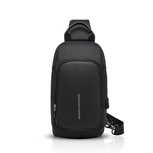 FANDARE New Sling Bag Herren Sport Reisen Handel mit USB-Ladeanschluss Diebstahlsicherung Umhängetasche Große Kapazität Wasserdichtes Polyester Schwarz