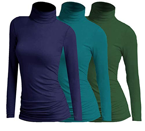 3x Damen Frauen Langarm Rollkragen - Rolli - Rollkragenshirt - Turtleneck T Shirt - 3er Pack - Basic TShirt Tops - 3 in 1 (Dunkelblau + Petrol + Grün)