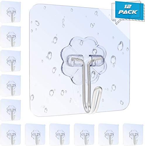 12 Stk. Haken Selbstklebend Handtuchhaken, Max 8kg Klebehaken Transparent Ohne Bohren, Badezimmer Haken für Küche Bad von Karrong