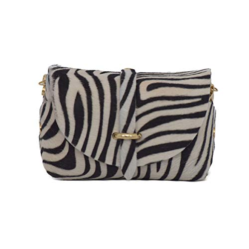 A to Z Leather Bolso clutch pequeño de mujer de auténcia y suave piel, con cadena dorada desmontable, para llevar colgado o como bolso de mano. Los bolsos pueden personalizarse con unas iniciales.