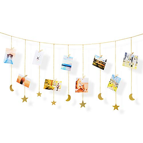 QUMENEY Hanging Photo Display Wooden Stars Moon Garland with Metal Chains, Picture Frame Collage with 30 Clips, Wall Art Boho Decoration for Xmas Card Home Office Nursery Dorm Living Room Bedroom