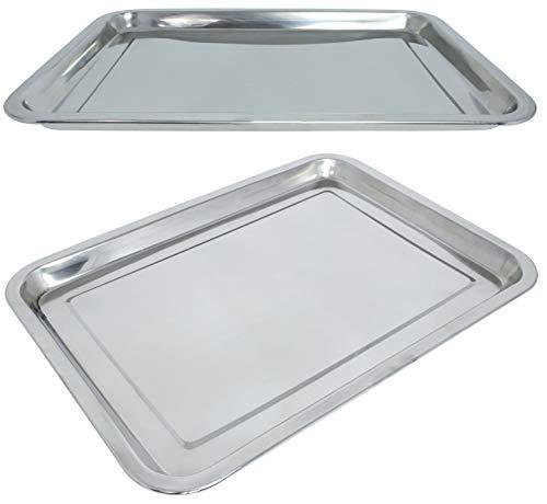 Marinax 3Stück Edelstahl Tablett rechteckig 31,5x21,5cm oder 39,5x29,5cm zur Auswahl (39,5x29,5cm)