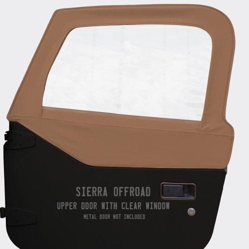 Sierra Offroad Upper Door Skins for the 1997-2006 Jeep Wrangler, Sailcloth Vinyl, Saddle