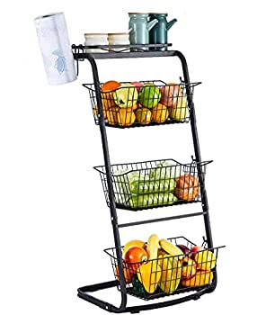 RUHATA 4-Tier Wire Baskets for Organizing- Fruit Basket Stand with Pads for Kitchen Pantry|Snack Fruit Vegetable Produce Metal Hanging Storage Bin and Paper Towel Holder-Black  black-1