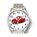 Reloj de pulsera para hombre, oro rosa, de acero inoxidable, deportivo, reloj de negocios para hombres, Pickup Truck