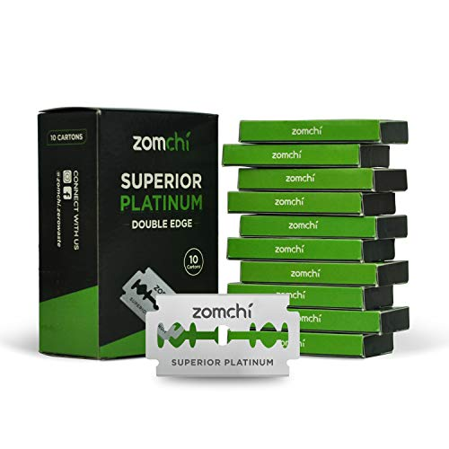 Double Edge Razor Blades, 50 Counts Safety Razor Blades for Shaving, Platinum Stainless Steel Shaving Blades for Men and Women, Fits All Standard Double Edge Razors