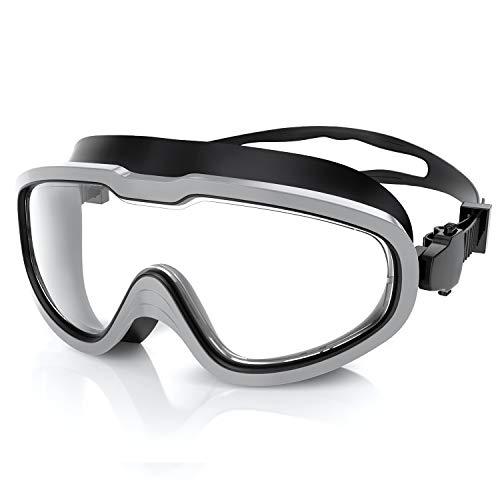 QcoQce Unisex Schwimmbrille,Schwimmbrillen Linse Verstellbar Gurt mit UV-Schutz und Anti Nebel,Taucherbrille für Erwachsen und Kinder Einschließen Ohrstöpsel und Nasenklammern (Grau)