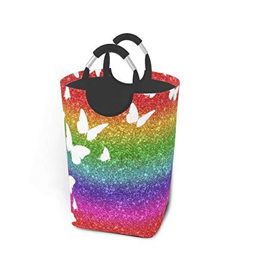 Cesto de almacenamiento para la colada, diseño de mariposa, arcoíris, con purpurina, tamaño grande, plegable, para ropa sucia, juguetes, libros