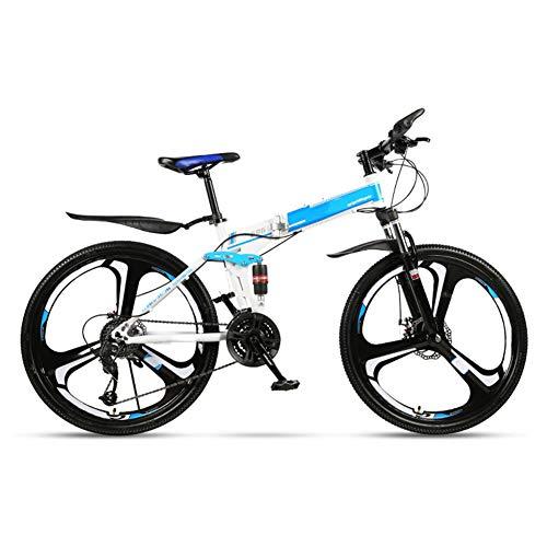 HLeoz Plegable Bicicleta De Montaña De 26 Pulgadas, Adulto Bikes 27 Velocidad Bikes Doble Suspensión y Frenos de Disco Adecuado para una Altura de 165-185 cm,Azul,3 Cutter Wheel