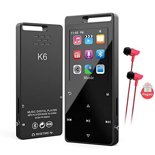 Reproductor MP3 Bluetooth 5.0,TESECU MP3 Player con FM Radio,Grabación de Voz,Botón Táctil,Temporizador,Soporte hasta 128GB,(con Auriculares)