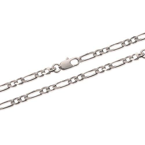 Les Plaisirs de Stella - Pulsera para hombre de plata 925/000 rodiada, malla Figaro 1-2 diamantada, 21 cm de ancho 3 mm