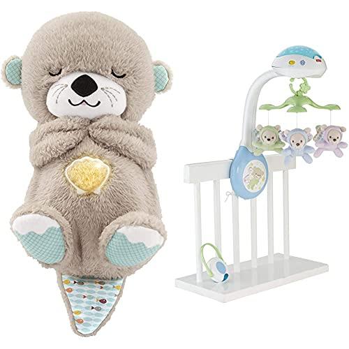 Fisher-Price FXC66 - Nutria Hora de Dormir, Juguete de Cuna y Peluche para Bebé Recién Nacido + Móvil ositos voladores, juguete de cuna proyector para bebé (Mattel CDN41)
