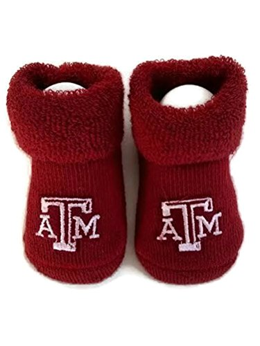 Texas A & M Baby Booties Aggie Maroon Infant Socks NCAA Officially Licensed Team Logo