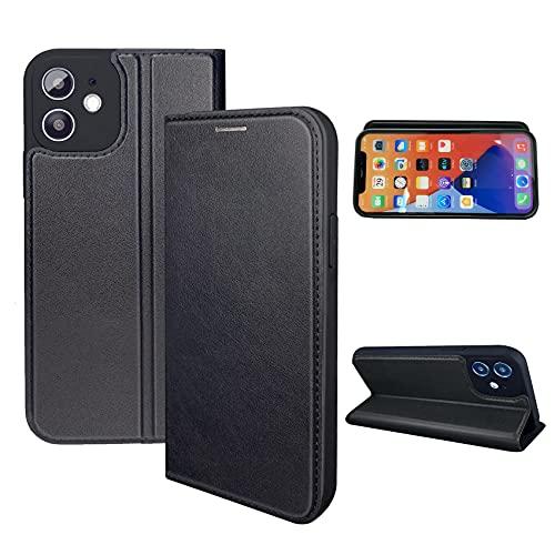 NOUSKE Funda Hybrid PU Cuero Compatible con iPhone 12 Mini (5.4 Pulgadas) [Bumper Silicona] [Flip Folio Case] [TPU Cover ] [Soporte Plegable] [Cierre Magnetico] - Negro