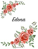 Edona: Personalized Notebook with Flowers and First Name – Floral Cover (Red Rose Blooms). College Ruled (Narrow Lined) Journal for School Notes, Diary Writing, Journaling. Composition Book Size