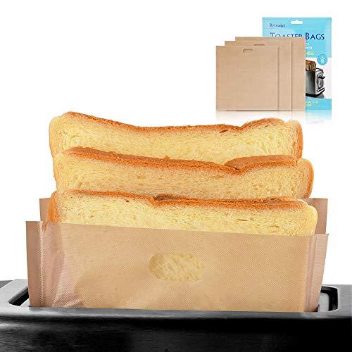 softeen Antihaft Toastertasche (12er-Paket) 3 verschiedenen Größen, Wiederverwendbar bis zu 100 Mal, FDA- und SGS-Zulassung, Waschbar Toaster-Taschen glutenfrei für Toast Sandwich Panini Snacks